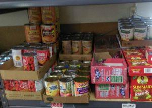 Shelves at Food Pantry