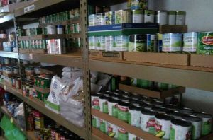 Shelves at Food Pantry